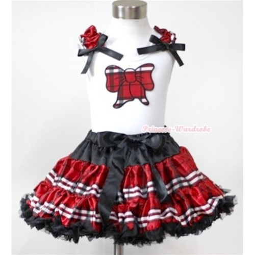 White Tank Top with Red Black Checked Butterfly Print with Red Black Checked Ruffles & Black Bow& Red Black Checked Pettiskirt MG350