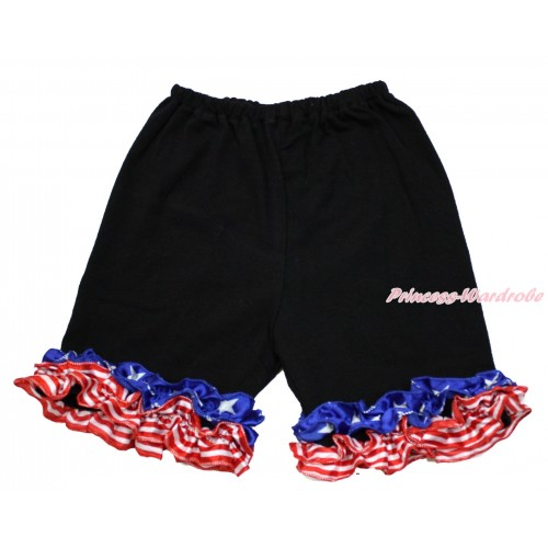American's Birthday Black Cotton Short Pantie With Patriotic American Ruffles B081