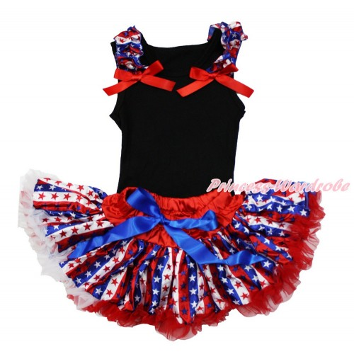 American's Birthday Black Baby Pettitop & Red White Royal Blue Striped Star Ruffles & Red Bow with with Red White Royal Blue Striped Star Baby Pettiskirt NG1486