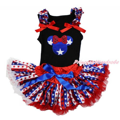 American's Birthday Black Baby Pettitop with Red White Blue Striped Star Ruffles & Red Bow with Patriotic American Star Minnie Print with Red White Blue Striped Star Newborn Pettiskirt NG1487