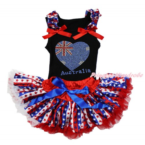 American's Birthday Black Baby Pettitop with Red White Blue Striped Star Ruffles & Red Bow with Sparkle Crystal Bling Rhinestone Australia Heart Print with Red White Blue Striped Star Newborn Pettiskirt NG1488