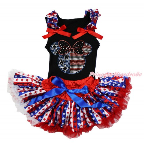 American's Birthday Black Baby Pettitop with Red White Blue Striped Star Ruffles & Red Bow with Sparkle Crystal Bling Rhinestone 4th July Minnie Print with Red White Blue Striped Star Newborn Pettiskirt NG1490