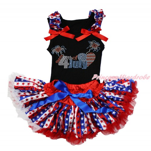 American's Birthday Black Baby Pettitop with Red White Blue Striped Star Ruffles & Red Bow with Sparkle Crystal Bling Rhinestone 4th July Patriotic American Heart Print with Red White Blue Striped Star Newborn Pettiskirt NG1491