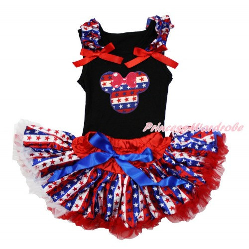 American's Birthday Black Baby Pettitop with Red White Blue Striped Star Ruffles & Red Bow with Red White Blue Striped Star Minnie Print with Red White Blue Striped Star Newborn Pettiskirt NG1492