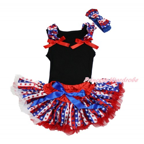 American's Birthday Black Baby Pettitop & Red White Royal Blue Striped Star Ruffles & Red Bow with Red White Royal Blue Striped Star Newborn Pettiskirt With Royal Blue Headband Red White Royal Blue Striped Star Satin Bow NG1493