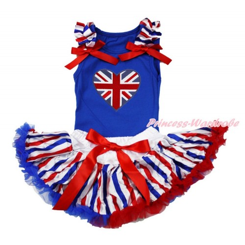 American's Birthday Royal Blue Baby Pettitop with Red White Royal Blue Striped Ruffles & Red Bows with Patriotic British Heart Print with Red White Royal Blue Striped Newborn Pettiskirt NG1503