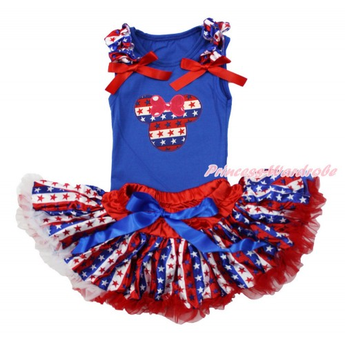 American's Birthday Royal Blue Baby Pettitop with Red White Blue Striped Star Ruffles & Red Bows with Red White Blue Striped Star Minnie Print with Red White Blue Striped Star Newborn Pettiskirt NG1512