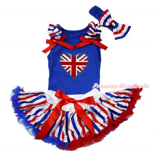 American's Birthday Royal Blue Baby Pettitop with Red White Royal Blue Striped Ruffles & Red Bows with British Heart Print & Red White Royal Blue Striped Newborn Pettiskirt & Royal Blue Headband Red White Royal Blue Striped Satin Bow NG1516