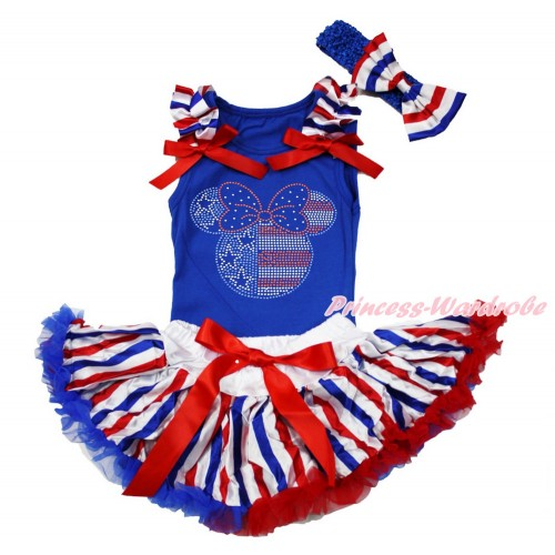Royal Blue Baby Pettitop with Red White Royal Blue Striped Ruffles & Red Bows with Sparkle Bling Rhinestone 4th July Minnie & Red White Royal Blue Striped Newborn Pettiskirt With Royal Blue Headband Red White Royal Blue Striped Satin Bow NG1518