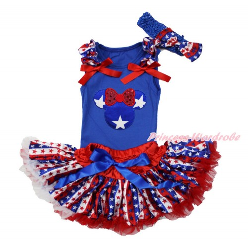 American's Birthday Royal Blue Baby Pettitop with Red White Blue Striped Star Ruffles & Red Bows with Patriotic American Star Minnie & Red White Blue Striped Star Newborn Pettiskirt & Blue Headband Red White Blue Striped Star Satin Bow NG1522